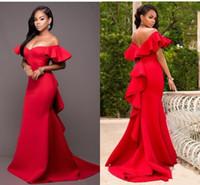 De magnifiques demoiselles d'honneur de sirène rouge robe de l'épaule Dossier Heavan Hornien Longueur Durée de mariée Satin Mariage Robe Plus Taille Z74
