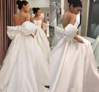 نوبل الأبيض بسيطة مصممة فساتين زفاف الحرير القوس الكبير وشاح خط عارية الذراعين الحبيب الغربية أثواب الزفاف