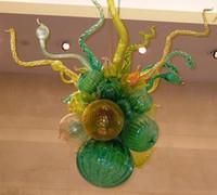 Маленький милый Канделябр выдувного стекла лампы зеленого стекла LED Хрустальная люстра свет Современные Подвесной Подвесной светильник для гостиной Детская комната
