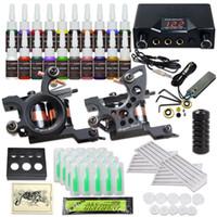 Komplette Tattoo-Kits 2 Tattoo-Guns-Maschinen 20 Farbtinten Sets Einwegnadeln Nadeln Stromversorgung HW-37