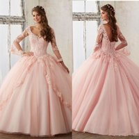 Nuova Quinceanera Pageant Ball Gown Abito a maniche lunghe Prom Dresses Party Blush Rosa Tulle Applique Pizzo Sexy Sweety 16 Abiti