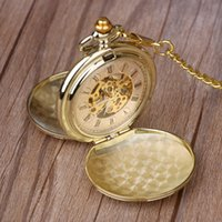 الرجعية الذهبي PocketFob الساعات كاملة مزدوجة هنتر الميكانيكية ساعات الجيب منقوش الرجال النساء ووتش الجيب سلسلة شحن مجاني