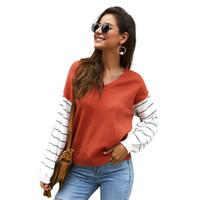 Yüksek kalite sonbahar kış şerit T Shirt Kadın Çizgili Tişört Örme Pamuk 2019 Kore T-Shirt Kadın Giyim Tee Gömlek