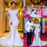 Robes de mariée sirène nigérianes 20 dentelle perlée appliqued manches longues chapelle train longueur africaine fille noire robes de mariée BA9464