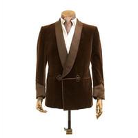 2020 Velvet Smoking Suit Men Latest Designs Single Breasted Smoking Blazer Dinner Jacket Shawl Lapel Formal Night Men's Jacket