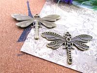 9pcs - Antique bronze tibétain énormes libellules cabochons pendentifs charme Paramètres de base, 8 mm intérieur