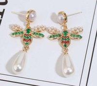 Pendientes de abeja diseñador al por mayor para las mujeres Marca Vintage Pearl Rojo Verde Crystal Copper Estilo abeja regalo de la joyería pendiente