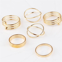 Hot new 6 unids / set Gold Ring Set Combine Joint Ring Ring Band Ring Toes Anillos para Mujeres Joyería de Moda WCW168
