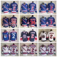 3 James Patrick Jersey Buz Hokeyi 34 John Vanbiesbrouck 36 Glenn Anderson 2 Brian Leetch New York Rangers Vintage Formalar Mavi