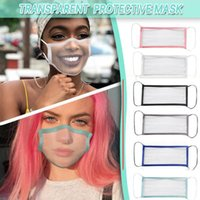패션 투명한 얼굴 마스크 세탁 가능한 재사용 가능한 마스크 청각 장애인 - 음소거 방진 Antifog earloop 맑은 디자이너 마스크 파티 마스크