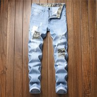 Neue Patchwork Mens Fashion Jeans Mens-beiläufige Art-dünne Teared Distressed Denim Jeans asiatische Größe 28-42