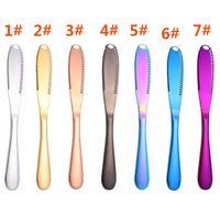 7-اللون الفولاذ المقاوم للصدأ مذهبة عالية الجودة زبدة زبدة سكين الغربية ستيك سكين أدوات المائدة الجبن سكين DA232