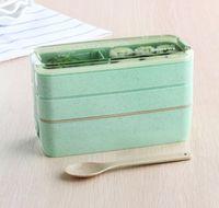 Palha de trigo Lunch Box com colher 3 camadas da cesta de comida de microondas Bento Boxes Louça Food Container WB1815