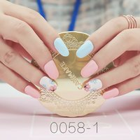 press on nails 24 Pcs Classical Summer Fake Nails Pink Marbl...