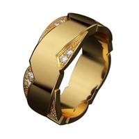 10個ヨーロッパとアメリカのファッションの立体波状環の単純なマイクロセットジルコンユニセックスリングサイズ6-12 G-100