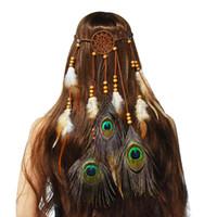 US Warehouse Hippie Dreamcatcher Catena Catene di testa Boho Tribal Piuma Parteccio con perline Peacock Feather Hair Band Accessori per capelli