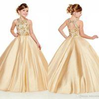 2020 Altın Kızlar Pageant Elbiseler Halter Boyun Bir Çizgi Altın Boncuk Kristalleri Üst Uzun Yürüyor Çocuk Örgün Parti Balo Abiye Çiçek Kız BC3012 Giymek