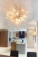 Modern LED Lâmpadas Luzes Pingentes Estilo Estilo Arte Ilumina Branco Murano Chandelier Artesanal Pingentes Artesanal Lâmpada de teto para casa