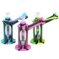 Glasbongs Silikon-Tupfchen Wasserpfeifen Bong 7-Zoll-Bubbler-Öl-Tabak-Herb-Rig Unzerbrechliche Wasserpfeife mit Glasschüssel Zylindrisch