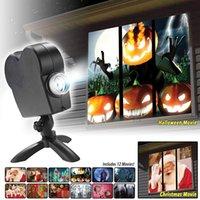 عيد الميلاد هالوين البرازر الليزر 12 أفلام ديسكو ضوء مصغرة نافذة المسرح المنزلي العارض الداخلية في الهواء الطلق العجائب