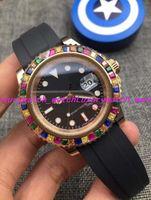 6 스타일 럭셔리 시계 레인보우 다이아몬드 18 천개 로즈 골드 실버 116695SATS 새로운 고무 스트랩 자동 패션 남성 시계 손목 시계