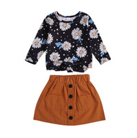 Autumn New Girls Chrysanthemum Small Cute Round Neck Long- Sl...