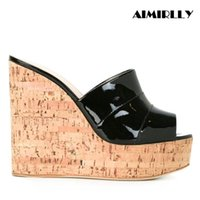 Aimirlly Women Shoes Cork Wedge Sky High Platform Slide Sand...