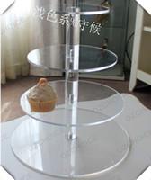 루 컵 케이크는 생일 파티를 위해 스탠드 라운드 클리어 4 계층 아크릴 웨딩 케이크 디스플레이 스탠드