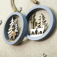 Dropship Christmas tree wood painted elk pendant 1 pc Xmas P...