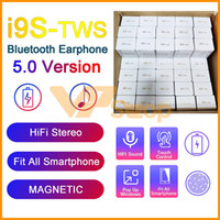 i9S TWS 5.0 fone de ouvido Mini auriculares sem fios Bluetooth Headphone Com Magnetic carregamento Box janela pop-up Headset PK i11 TWS H1 Chip