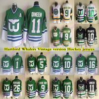 남성용 Hartford Whalers CCM 빈티지 유니폼 10 Francis 11 Dineen 9 Gordie Howe 16 Verbeek 26 Ferraro 5 Samuelssov 1 Liut Hockey Jersey