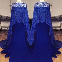 eleagant 블루 레이스 이브닝 드레스 인어 Strapless Neckline Prom Dress Sweep Train Arabic Party Evening Gows Cape