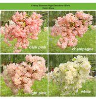 Alta densidade 4 6 garfo falsa flor de cerejeira flor ramo begonia sakura caule de árvore para o evento de casamento árvore art deco decorativa flor