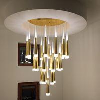36 Köpfe moderne führte Kronleuchter Gold-Silber-Aluminium Acryl lampbody Wohnzimmer Treppe Luxus hängenden Kronleuchter Beleuchtung
