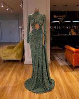 Verde oliva Vintage alta Neck Prom Dresses Sexy mangas compridas lantejoulas Mermaid Vestido de Noite Árabe High Side Dividir Formal Vestido Patry