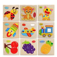 De dibujos animados tráfico animal de juguete de madera del rompecabezas 3D bebé niño hoja de rompecabezas de madera rompecabezas de juguete de la educación temprana