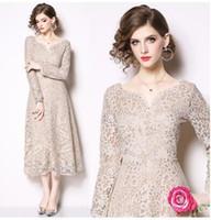 새로운 디자인 여성의 V 넥 긴 꽃 무늬 맥시 롱 드레스 파티 vestidos 플러스 크기 SMLXLXXL 밖으로 중공 높은 허리 레이스 슬리브