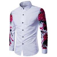 Yeni Moda Kişilik erkek Giyim Adam Tasarım Lüks Erkek Iş Gömlek Merserize Pamuk Uzun Kollu Dijital Baskı Erik Çiçeği S