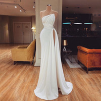Simple Strapless Sheath Prom Dresses High Side Split Pleats Cocktail Party Dress Floor Length Evening Gowns Sleeveless