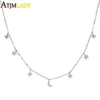 2018 New Spring Rose Gold Silver Color Tiny Cute Moon Star S...