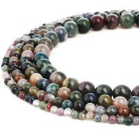 حبات اللابرادوريت الطبيعية جولة الأحجار الكريمة العقيق الهندي فضفاض الخرز ل ديي سوار مجوهرات جعل 1 حبلا 15 بوصة 4-10 مم
