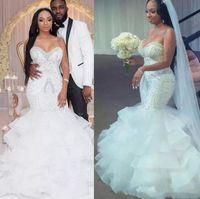 Сексуальные русалки свадебные платья с бисером блестки слоистые юбка плюс размер свадебного платья подсчет поезда Свечение молнии спины свадебные платья
