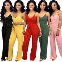 Women Spaghetti Strap Jumpsuit 5 Colors Solid Color Wide Leg...