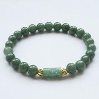 Naturligt jadeitarmband, isolja, grön myanmar jade, en produkt, jadeit och guldpärla armband, 8mm för män och kvinnor