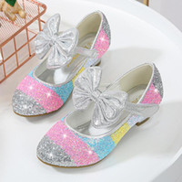 Hot Girls Wedding Leather Shoes Spring Summer High Heels Dress Shoes Gold Pink Kids Party For Girls