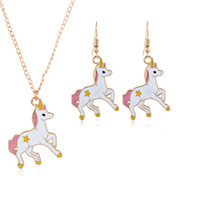 Necklace Earrings Cartoon Horse Unicorn Necklace Earring Jew...