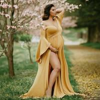 Mutterschaft Kleider für Fotosession für schwangere Frauen Fotografie Props Schwangerschaft Kleid Fotografie Maxi-Kleid-Kleid Schwangere Kleidung Neue