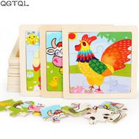 Großhandel Mini-Größe 11 * 11cm Kinder Holz 3D-Puzzle für Kinder Baby-Karikatur Tier Verkehr Diy pädagogisches Spielzeug