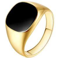 Мужские брендовые кольца винтажные ювелирные изделия из нержавеющей стали кольцо мода минималистский дизайн покрытый золотой черный эмаль мужские кольца