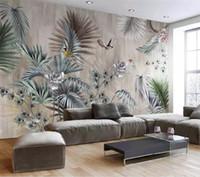 Papel tapiz 3d personalizado mural sala nórdica planta retro TV fondo pintura de la pared decoración del hogar